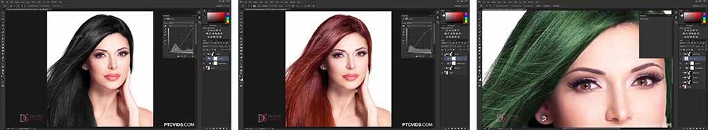 آموزش عوض کردن رنگ مو در فتوشاپ